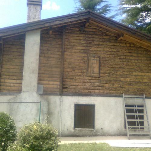 Microsabbiatura su muro in legno Verona.